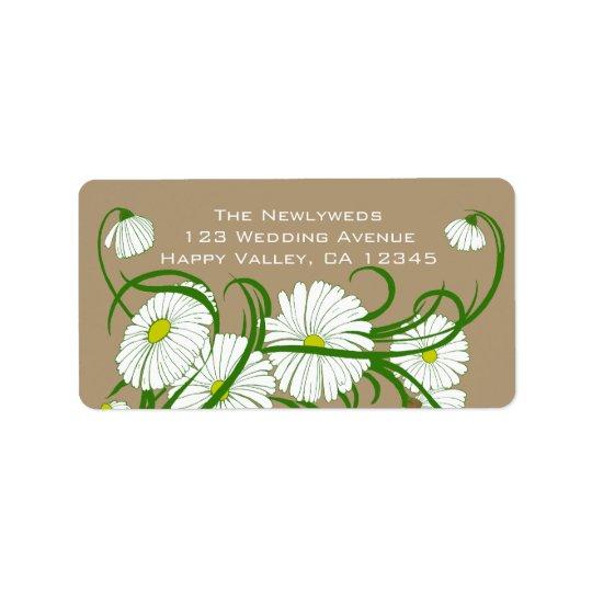 Flores blancas de la margarita de Gerber del Etiquetas De Dirección