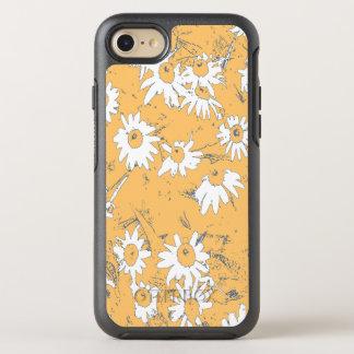 Flores blancas del cono con el fondo anaranjado funda OtterBox symmetry para iPhone 8/7