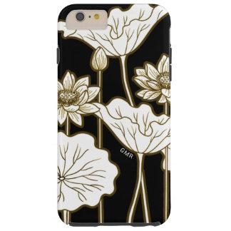 Flores blancas grandes en negro con el ajuste de funda resistente iPhone 6 plus
