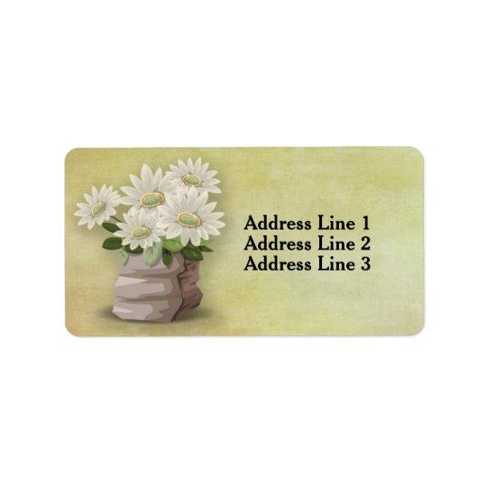 Flores blancas hermosas del vintage en etiqueta