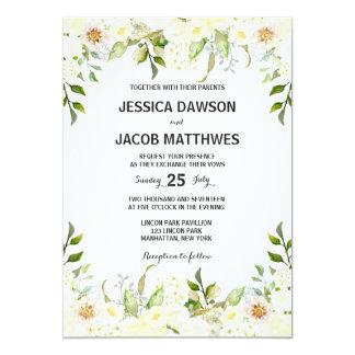 Flores blancas que casan la invitación