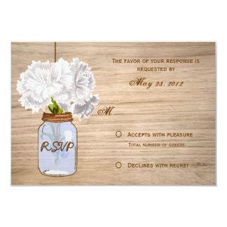 Flores blancas rústicas RSVP del tarro de albañil Invitación 8,9 X 12,7 Cm