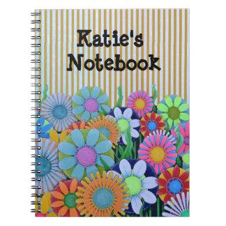 Flores brillantes personalizadas Notebaook del Cuaderno