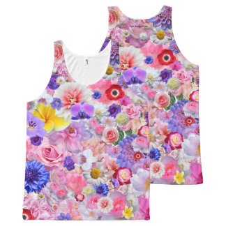 Flores Camiseta De Tirantes Con Estampado Integral