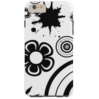 Flores caprichosas negras y blancas, círculos, funda resistente iPhone 6 plus