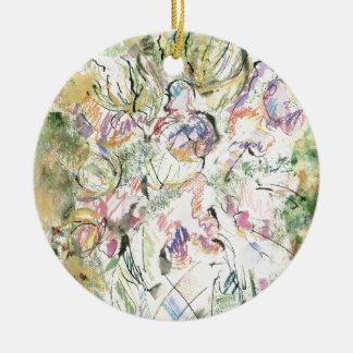 Flores chinas adorno redondo de cerámica