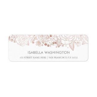 Flores color de rosa de la moda del oro y del etiquetas de remite
