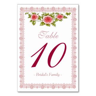 Flores color de rosa elegantes - tarjeta del númer