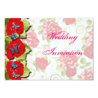 Flores color de rosa que casan la tarjeta de la invitación 8,9 x 12,7 cm