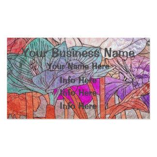 Flores coloreadas multi en pasteles tarjetas de visita