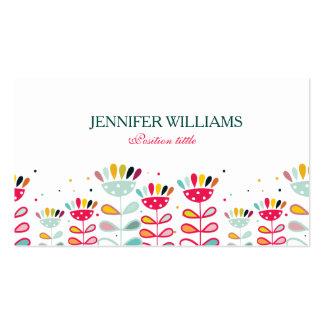 Flores coloridas lindas del dibujo animado tarjetas de visita