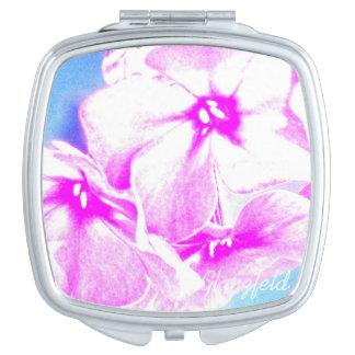 flores compactas cuadradas del rosa del espejo espejos para el bolso