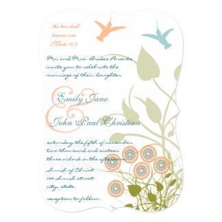 Flores cristianas de los pájaros del tarareo de la invitaciones personalizada