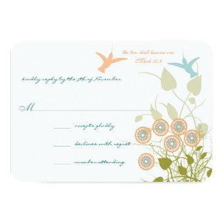 Flores cristianas de los pájaros del tarareo de la invitación 8,9 x 12,7 cm