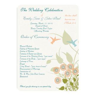 Flores cristianas de los pájaros del tarareo del invitación 12,7 x 17,8 cm
