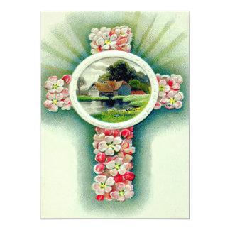 Flores cruzadas cristianas de la nomeolvides invitación 12,7 x 17,8 cm