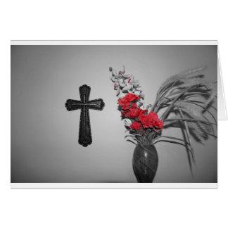 Flores cruzadas de la religión tarjetón