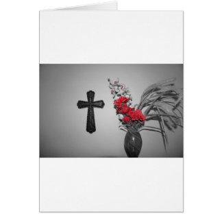 Flores cruzadas de la religión tarjeta de felicitación