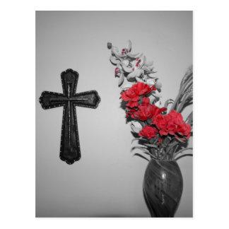 Flores cruzadas de la religión postales