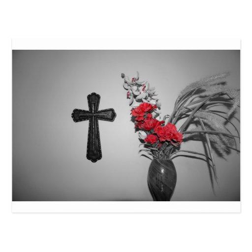 Flores cruzadas de la religión tarjetas postales