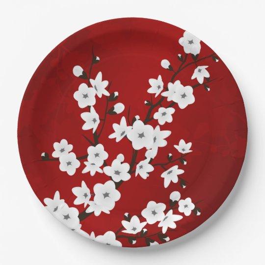 Flores de cerezo blancos y negros rojas plato de papel