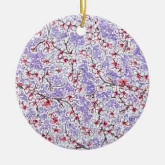 Flores de cerezo chispeantes en púrpura adorno redondo de cerámica