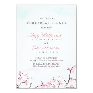 Flores de cerezo de la acuarela de la cena el | invitación 12,7 x 17,8 cm