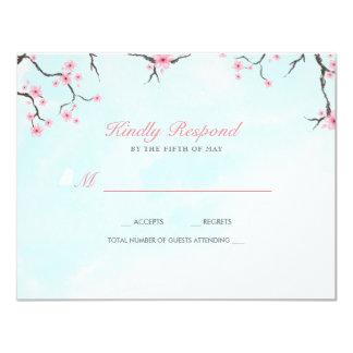Flores de cerezo de la acuarela de la tarjeta el | invitación 10,8 x 13,9 cm