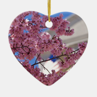 Flores de cerezo de Sakura americana Adorno Navideño De Cerámica En Forma De Corazón