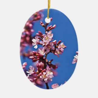 Flores de cerezo de Sakura que tocan el azul Adorno Navideño Ovalado De Cerámica