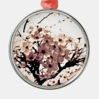 Flores de cerezo del blanco de Etherial Adorno Navideño Redondo De Metal