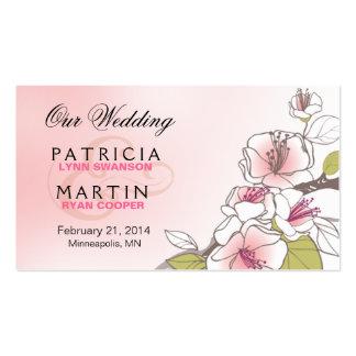 Flores de cerezo florecientes que casan rosa del tarjetas de visita