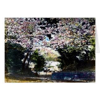 Flores de cerezo japonesas del vintage tarjeta de felicitación