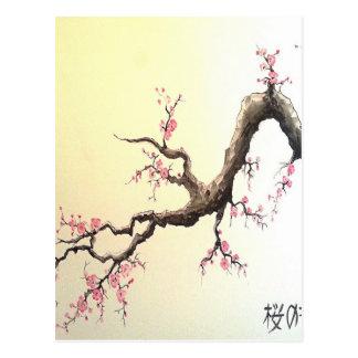 Flores de cerezo japonesas postal