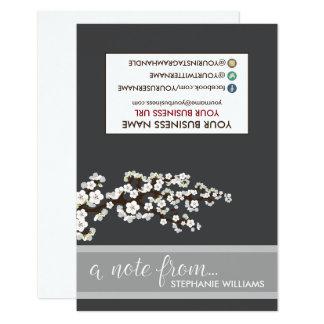 Flores de cerezo Notecards (negro) del estilista Invitación 8,9 X 12,7 Cm