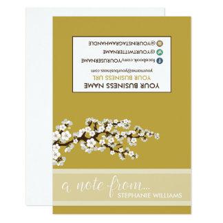 Flores de cerezo Notecards (oro) del estilista de Invitación 8,9 X 12,7 Cm