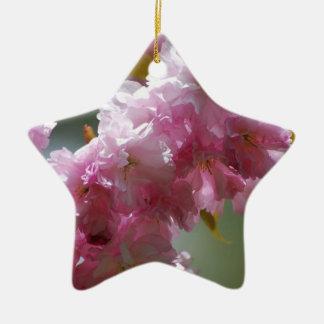 Flores de cerezo rosadas bonitas adorno de cerámica en forma de estrella