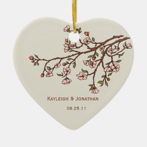 Flores de cerezo rosadas del ornamento que casan e adornos de navidad