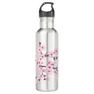 Flores de cerezo rosadas florales botella de agua
