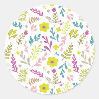 Flores de Colorfull en blanco Pegatina Redonda