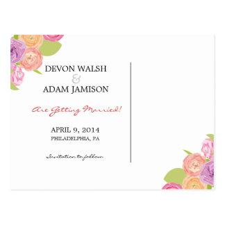 Flores de conexión en cascada que casan reserva la postal
