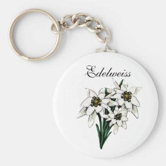 Flores de Edelweiss Llavero Redondo Tipo Chapa