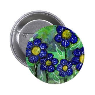 Flores de globo azules chapa redonda 5 cm