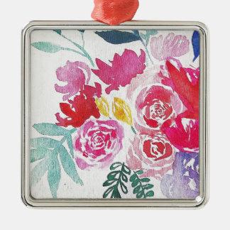 Flores de la acuarela adorno de cerámica