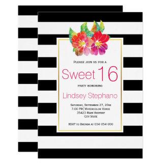 Flores de la acuarela, cumpleaños del dulce invitación 12,7 x 17,8 cm