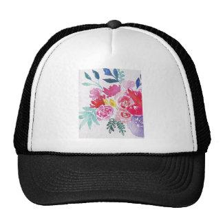 Flores de la acuarela gorras
