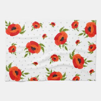 Flores de la amapola paño de cocina