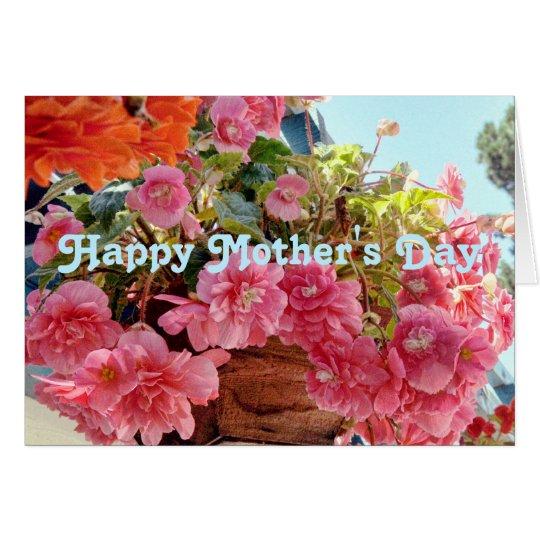 Flores de la begonia en un día de madre colgante tarjeta de felicitación
