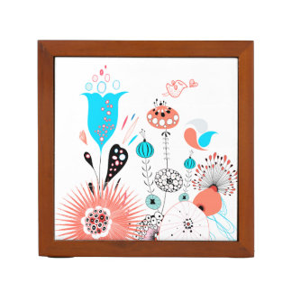 Flores de la fantasía y organizador del escritorio