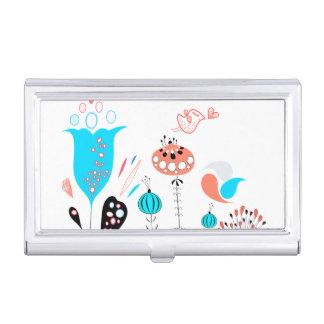 Flores de la fantasía y tenedor de la tarjeta de cajas de tarjetas de visita